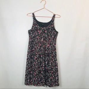 Ann Taylor Petite Brown Floral Sleeveless Dress